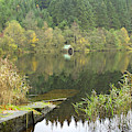 old boathouse at Loch Ard near Aberfoyle in autumn by Victor Lord Denovan