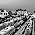 Old City Train Tracks Black And White by Sharon Popek