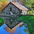 Old Grist Mill Autumn Reflection by Luke Moore