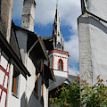 old historic church spire and houses in Ediger Germany by Victor Lord Denovan