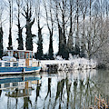 Old House Boat On The River Thames In Winter by Tim Gainey