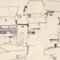 Old Houses In Krumau        by Egon Schiele