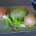 Old Onions With Mango by Lynda Lehmann