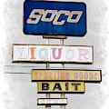Old Soco Sign Salton Sea Selective Coloring Digital Art by Colleen Cornelius