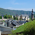 old town walls and church and buildings of Cochem by Victor Lord Denovan