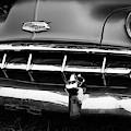 Old Vintage Chevy Power Glide 1950s Automobile Black And White by Edward Fielding