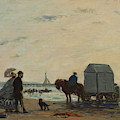 On The Beach At Trouville  by Eug  ne Boudin