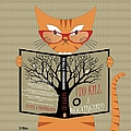 Orange Cat Reading by Donna Mibus