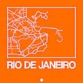 Orange Map Of Rio De Janeiro by Naxart Studio