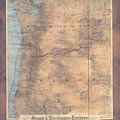 Oregon Washington Historic Map Colton Sepia Map Hand Painted by Lisa Middleton