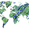 Organic Green Watercolor World Map by Irina Sztukowski