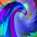 Original Fine Art Digital Abstract Warp10c Scaled Blue. by G Linsenmayer