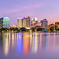 Orlando Florida Skyline Reflections On Lake Eola by Gregory Ballos