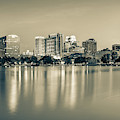 Orlando Florida Skyline Reflections On Lake Eola - Sepia Edition by Gregory Ballos