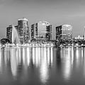 Orlando Skyline - Lake Eola Sunset Panorama In Monochrome by Gregory Ballos