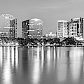 Orlando Skyline Panoramic From Lake Eola Park - Monochrome by Gregory Ballos