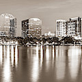 Orlando Skyline Panoramic From Lake Eola Park - Sepia Edition by Gregory Ballos