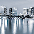 Orlando Skyline Panoramic From Lake Eola Park - Silver Monochrome by Gregory Ballos