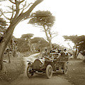 Touring Car On The 17 Mile Drive, Pebble Beach, Californiacirca 1910 by California Views Archives Mr Pat Hathaway Archives