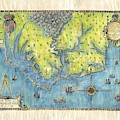 Outer Banks Historic Antique Map Hand Painted by Lisa Middleton