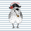 Owl Pirate, Nautical Poster, Hand Drawn by Olga angelloz