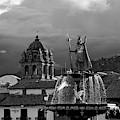 Pachacuteq And La Merced Church Tower In Monochrome Cusco Peru by James Brunker