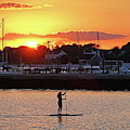 Paddling The Newport Harbor At Sunset Newport Ri Rhode Isliand by Toby McGuire