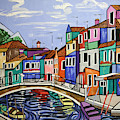 Painted Buildings Burano Venice by Anthony Falbo