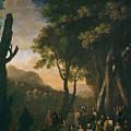 Paisaje Con Ermitano Predicando   by Swanevelt  Herman van