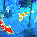 Palm Reflections And Koi by Sandra Selle Rodriguez