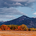 Panorama Of Ominous Clouds Above Pueblo Peak And Sangre De Cristo Mountains - Taos New Mexico by Silvio Ligutti