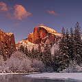 Panoramic Half Dome Merced River Winter Yosemite National Park by Dave Welling