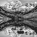 Panoramic Mountain Landscape Of The Maroon Bells - Monochrome Edition by Gregory Ballos