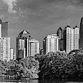 Panoramic Skyline Of Atlanta Georgia In Black And White by Gregory Ballos