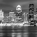 Panoramic Skyline Of Louisville Kentucky At Dusk - Monochrome by Gregory Ballos