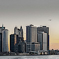 Panoramic View Of Manhattan Island And The Brooklyn Bridge At Su by PorqueNo Studios