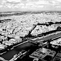 Paris From The Eiffel Tower, Black And White by Chance Kafka