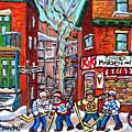 Park Extension Paintings Marven's Cornerstore Ball Ave Hockey Art Montreal Memories C Spandau Artist by Carole Spandau