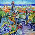 Park Guell Enchanted Visitors - Impasto Palette Knife Stylized Cityscape by Mona Edulesco