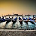 Parked Gondolas, Early Morning In Venice, Italy.  by Ian Robert Knight