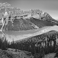 Peyto Lake Mid Morning Reflection Panorama Black And White by Adam Jewell