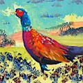 Pheasant Walking In English Countryside Landscape Painting by Mike Jory