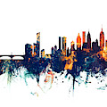 Philadelphia And New York City Skylines Mashup by Michael Tompsett
