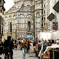 Piazza Del Duomo Streets In Florence by John Rizzuto