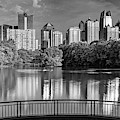 Piedmont Park Panorama - Atlanta Skyline In Black And White by Gregory Ballos