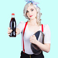 Pin-up Girl Holding Soft Drink Bottle by Jorgo Photography - Wall Art Gallery