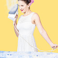 Pin Up Woman Providing Steam Clean Ironing Service by Jorgo Photography - Wall Art Gallery