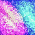 Pink Ice Blue  Abstract Polygon Crystal Cubism Low Poly Triangle Design by Philipp Rietz