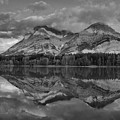 Pink Kananaskis Country Sunrise Panorama Black And White by Adam Jewell