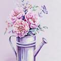 Pink Peonies Blooming Watercolour by Georgeta Blanaru
